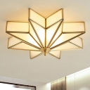 4-Light Beveled Frosted Glass Flush Mount Lighting Fixture Traditional Brass Star Bedroom Close to Ceiling Light