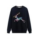Cool Street Long Sleeve Crew Neck Deer Printed Boxy Pullover Sweatshirt for Girls