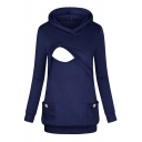Womens Simple Plain Long Sleeve Patched Dual Pocket Nursing Hoodie