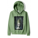 Funny Bee Figure Oil Painting Print Long Sleeve Casual Thick Drawstring Hoodie
