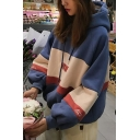 Korean Style Girls' Blouson Sleeve Letter NUM Printed Contrasted Oversize Hoodie in Blue