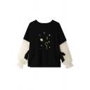 Chic Star Planet Print Mesh Panelled Bell Long Sleeve Tie Side Black Pullover Sweatshirt