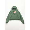Cartoon Delicious Snacks Letter Printed Long Sleeve Pouch Pocket Thick Drawstring Hoodie