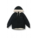 Girls' Cute Winter Blouson Sleeve Hooded Drawstring Zip Up Press Button Pockets Side Plain Baggy Contrasted Down Coat