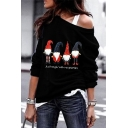 Trendy Street Girls' Long Sleeve Drop Shoulder Santa Claus Pattern Letter JUST HANGIN WITH MY GHOMIES Boxy Pullover Sweatshirt