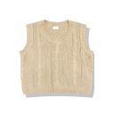 Girls' Trendy Sleeveless Crew Neck Cable Knit Loose Fit Sweater Vest in Apricot
