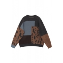 Casual Women's Long Sleeve Crew Neck Leopard Printed Patched Purl Knit Baggy Pullover Sweater Top