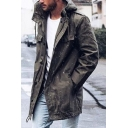 Mens Popular Solid Color Long Sleeve Zip Up Loose Trench Coat with Hood
