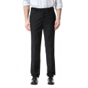 Mens Formal Adjustable Waist Zip Fly Solid Color Straight Fit Business Suit Pants