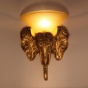 Amber Glass Bell Wall Mount Lamp Modern Style 1 Light Corridor Wall Sconce with Golden Elephant Design