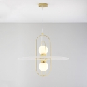 Sphere Chandelier Light Fixture Minimalist Opal Glass 2 Heads Kitchen Hanging Ceiling Light with Gold Metal Frame