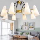 Tapered Dining Room Chandelier Lighting Milky Glass 6 Light Postmodern Hanging Lamp Kit in Gold Color