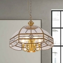 Bowl Clear Glass Chandelier Light Colonial 7 Bulbs Dining Room Pendant Lamp
