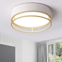 Drum Metal Ceiling Light Fixture Minimalist White LED Flush Mount Light in Warm/White/3 Color Light