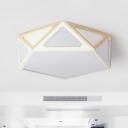 Pentagon Metal Flush Light Macaron White/Pink/Green LED Ceiling Light Fixture in Warm/White Light, 16