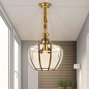 Gold 1 Head Down Lighting Traditional Clear Glass Lantern Pendant Ceiling Light for Balcony