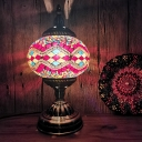 Globe Living Room Table Light Bohemia Stained Glass Single Head Bronze Nightstand Lamp