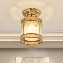 Brass 1 Head Metal Semi Flush Light Traditional Sandblasted Glass Cylinder Ceiling Fixture for Foyer