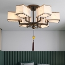Black 6/8/10 Lights Semi Flush Mount Chandelier Traditionalism Metal Rectangle Ceiling Mounted Light with Fabric Shade