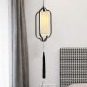 Vintage Caged Hanging Pendant 1 Head Opal Frosted Glass Suspended Lighting Fixture in Black/Brass for Dining Room