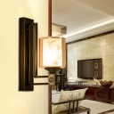 1 Bulb Cylindrical Wall Sconce Chinese Black Metal Wall Light Fixture with Amber Glass Shade for Bedroom
