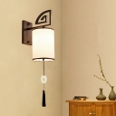 White Cylinder Wall Mount Light Fixture Traditional Fabric 1 Head Living Room Wall Sconce Lighting with Black Metal Backplate