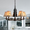 Rural Cone Chandelier Lighting Fixture 5 Heads Metal Pendant Ceiling Light in Black with Beige Paper Shade