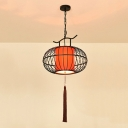 Traditional Lantern Hanging Pendant 1 Head Fabric Suspended Lighting Fixture in Red/White, 12