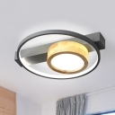 Loop Ceiling Fixture Contemporary Wood White/Gray LED Flush Mount Lamp for Bedroom