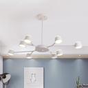 Starburst Metal Hanging Pendant Light Simple Style 8 Heads White Chandelier Lighting Fixture