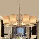 Fabric Cylinder Chandelier Contemporary 6/8 Lights Pendant Light Fixture in Beige with Metal Frame