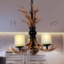 Resin Brown Chandelier Lighting Deer Antler 3 Bulbs Traditionary Hanging Pendant Light