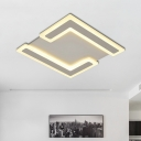 White Square Flush Mount Lamp Contemporary Acrylic LED Ceiling Light Fixture in Warm/White Light