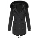 Casual Girls' Long Sleeve Hooded Drawstring Button Zipper Front Flap Pockets Fluffy Trim Plain Loose Midi Parka Coat