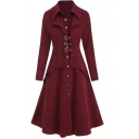 Elegant Ladies' Long Sleeve Lapel Neck Button Down Buckle Detail Tiered Pleated Long Dress Trench Coat in Red