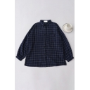 Casual Cute Girls' Balloon Sleeve Lapel Neck Plaid Pattern Button Front Loose Fit Shirt