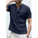 Mens Simple Plain Short Sleeve Button Front Loose Casual Cotton Blouse Shirt