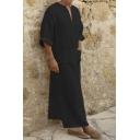 Mens Vintage V-Neck Loose Kaftan Henley Shirt Plain Long Robe with Pocket