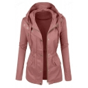 Female Simple Long Sleeve Hooded Button Zip Front Flap Pockets Drawstring Plain Relaxed Trench Coat