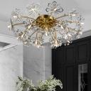 Crystal Beaded Dandelion Ceiling Lamp Postmodern 21 Lights Gold Semi Flush Mount Lighting