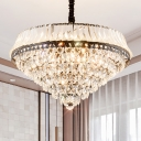 Clear Teardrop Crystal Cone Pendant Ceiling Light Simple Style 6 Heads Bedroom Hanging Chandelier