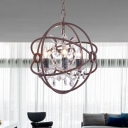 Candle Crystal Drop Chandelier Light Vintage 3 Heads Living Room Suspension Light with Orb Rust Iron Frame