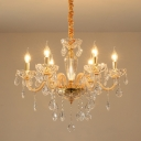 Crystal Drop Beige Pendant Lighting Fixture Candle 6/10 Heads Simple Style Ceiling Chandelier
