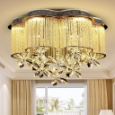 Faceted Crystal Petal Ceiling Mount Contemporary LED Gold Flush Mount Lighting Fixture for Bedroom