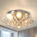 Crystal Ball Cascade Semi Flush Mount Light Fixture Modern Gold/Silver LED Ceiling Light for Bedroom