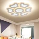 Modern Flower Acrylic Ceiling Lamp LED Flush Mount Light Fixture in White for Bedroom