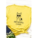 Cute Roll Up Sleeve Crew Neck Letter NO DRAMA LLAMA Alpaca Pattern Loose Tee for Girls