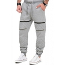 Mens Casual Solid Color Zipper Decoration Drawstring Waist Loose Fit Sweatpants