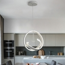 Acrylic Twist Chandelier Light Fixture Minimalist White LED Hanging Light Kit in Warm/White Light