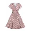 Girls' Cute Pink Short Sleeve Surplice Neck Polka Dot All Over Print Contrast Piped Ruched Mid Pleated Wrap Flared Dress